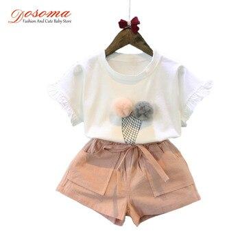 Baby girls summer sets 2017 style ice cream short sleeve t shirt + casual shorts kids tracksuit 2pcs set children suit clothes conjuntos casuales para niñas