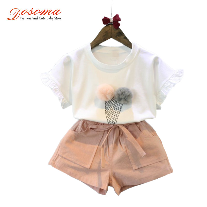 Baby girls summer sets 2018 style ice cream short sleeve t shirt + casual shorts kids tracksuit 2pcs set children suit clothes