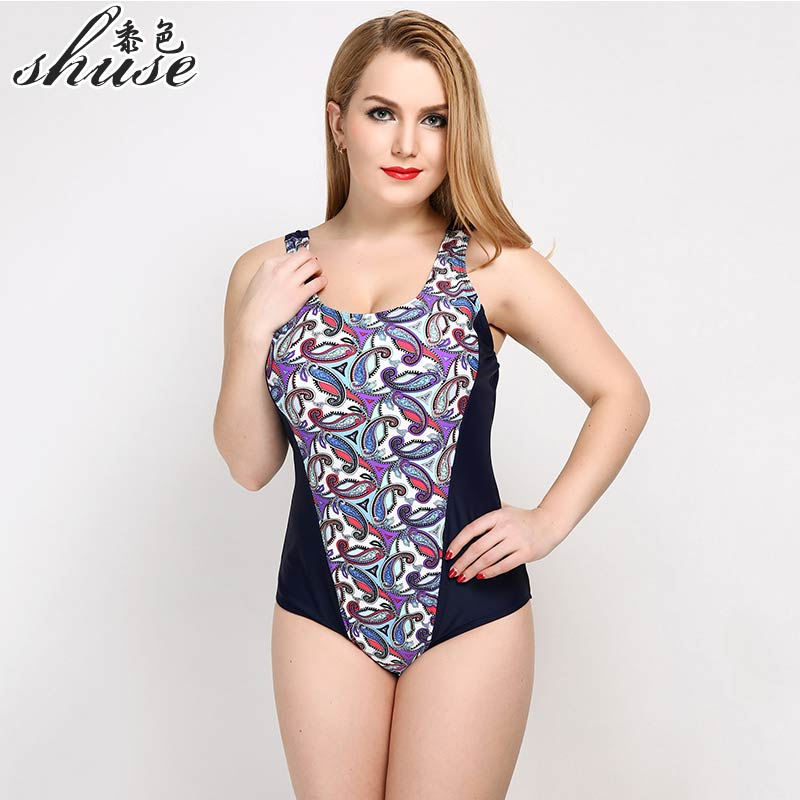 SHUSE Plus Size Swimwear Print Solid  One Piece Swimsuit Women Sexy Backless Bodysuit Large Monokini Beach Bating Suit 2017 Hot plus size scalloped backless one piece swimsuit