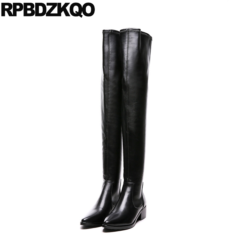 Winter Over The Knee Chunky Shoes High Slim Sexy 10 Luxury Long Thigh Black Brand Women Boots Genuine Leather Pointed Toe Female avvvxbw 2016 new brand long boots fashion elastic over the knee boots shoes woman square heel genuine leather thigh high boots