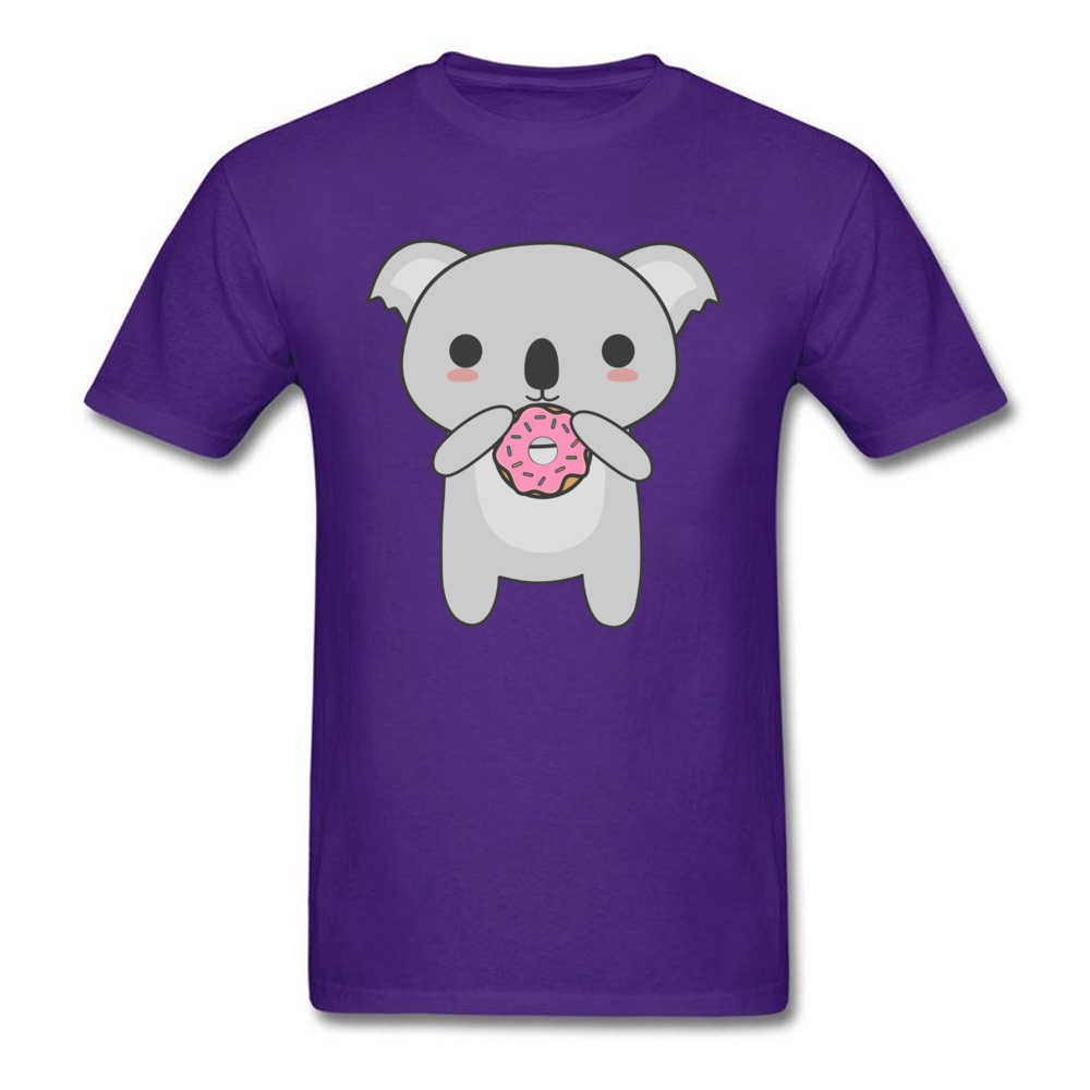Tops Tees Sweatshirts Kawaii Koala Eating A Donut Summer/Autumn Short Sleeve Cotton Fabric Crew Neck Mens T-Shirt Comics New Kawaii Koala Eating A Donut purple