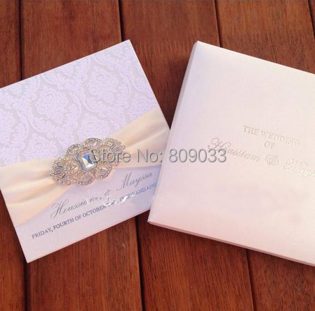 Luxurious Boxed Flocked Wedding Invitations With Rhinestone Brooch PA005-in  Cards   Invitations from Home   Garden on Aliexpress.com  de288ffff981