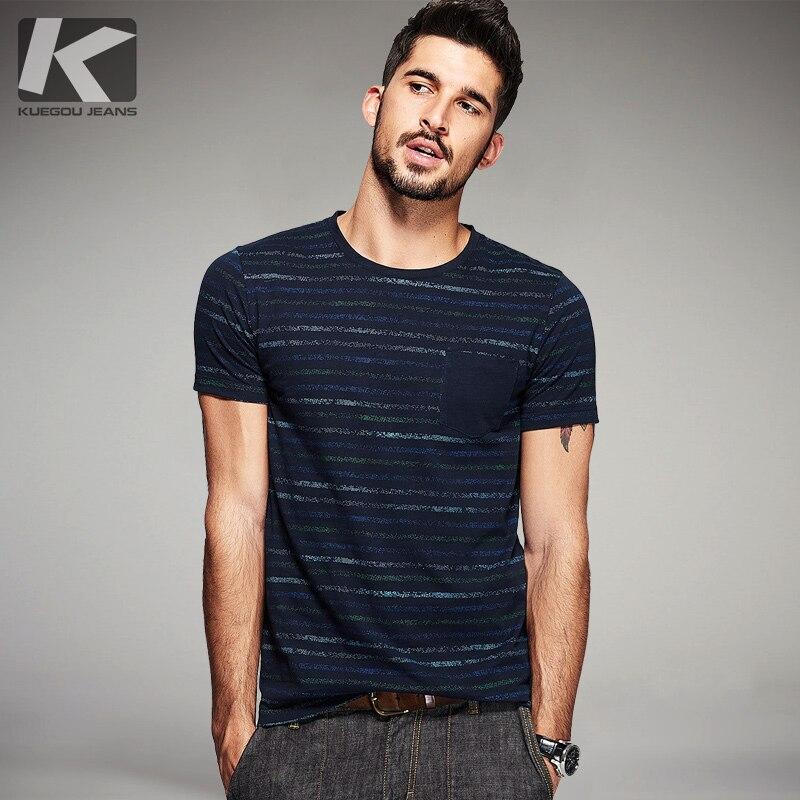 Kuegou Summer Mens Fashion T Shirts 100 Cotton Blue