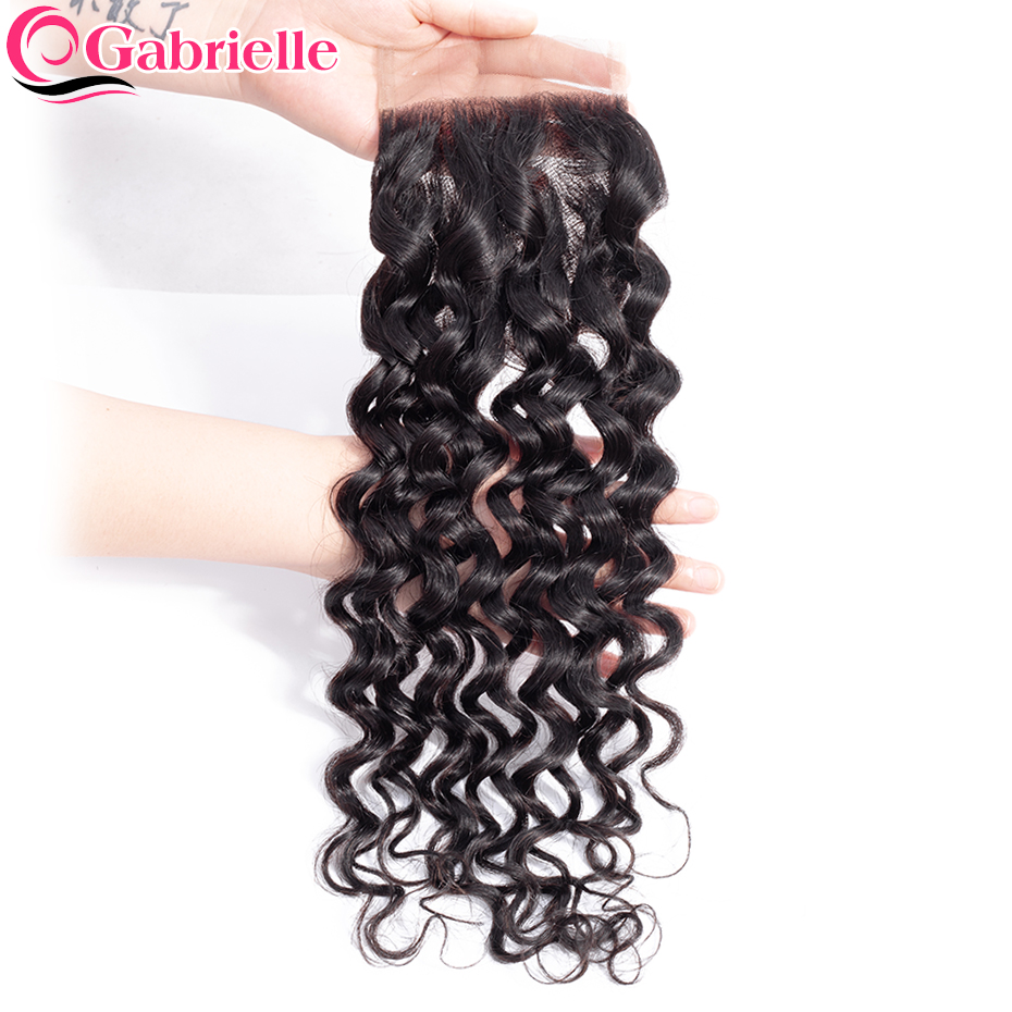 Gabrielle Water-Wave-Closure Human-Hair Natural-Color 8-22-Inch 4x4 Non-Remy Free/middle/three-part