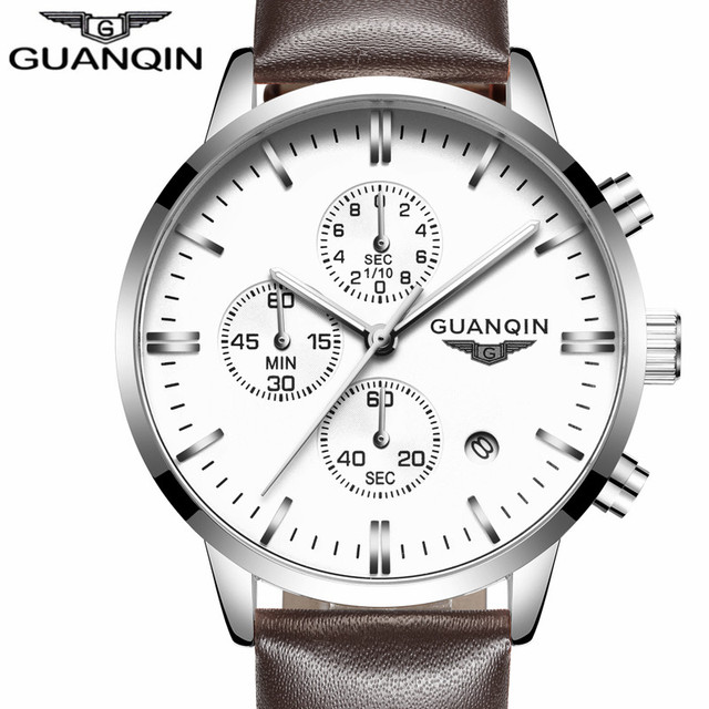 GUANQIN Quartz Watch Mens Watches Top Brand Luxury Chronograph Clock Men Sport Waterproof Leather Wristwatch relogio masculino