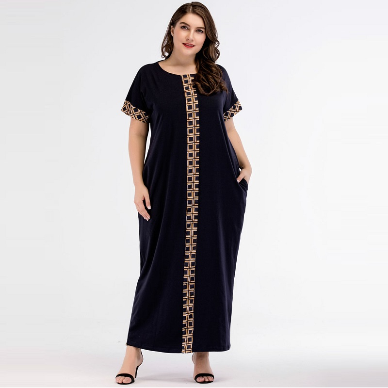muslim dresses muslim gown loose dresses knitted M-4XL women's dresses muslim clothing Patchwork arab robe women dresses 5361