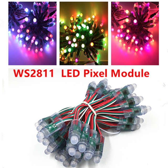 50pcs/lot WS2811 IC  DC 5V 12MM LED Pixel Module Full Color Waterproof IP68  led string Point Lights For Advertisement RGB