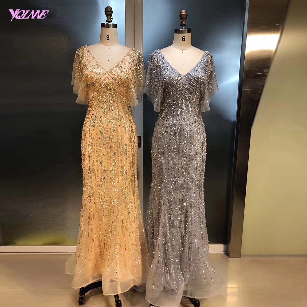 YQLNNE Elegant Gold V Neck Evening Dress Long Crystals Beaded Mermaid Evening Gown Robe De Soiree
