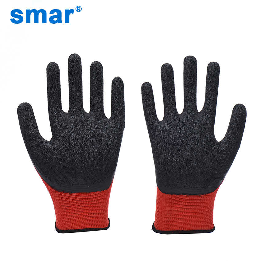 Smar Latex Microfine Foam Gloves Safety Factory Gloves Working outside Gloves Men Use Outside working Red color gloves