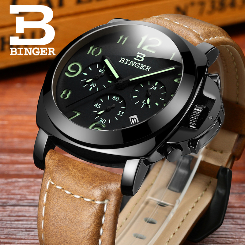 Original BINGER PAN Style Luxury Quartz Watch + Chronograph & Genuine Leather Band