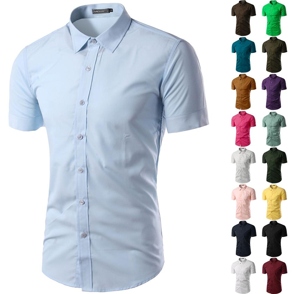2019 Neuer Stil Casual Slim Fit Business Formale Shirt Kurzarm Herren 2019 Sommer Solide Chemise Homme Plus Größe Mode Herren Hemd Home