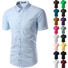 Casual Slim Fit Business Formal Shirt Short Sleeve Mens 2019