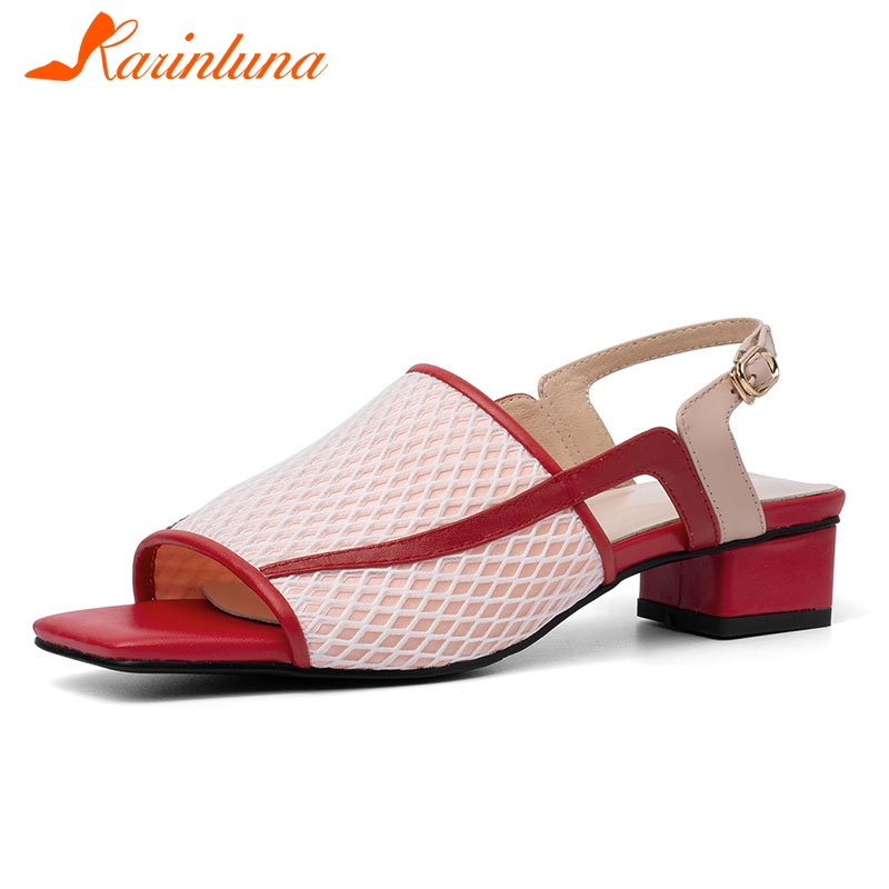 KARINLUNA 2019 Genuine Leather Summer Party Elegant Women Shoes Air Mesh Woman Chunky Heel Sandals Shoes WomanKARINLUNA 2019 Genuine Leather Summer Party Elegant Women Shoes Air Mesh Woman Chunky Heel Sandals Shoes Woman