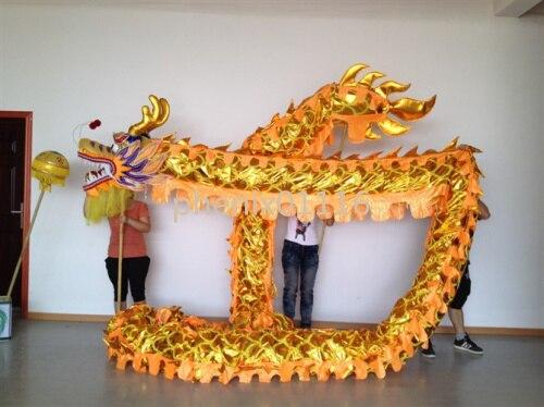 10m Délka Velikost 5 Pozlacený 8studentní čínský DRAGON DANCE ORIGINÁL Dragon Chinese Folk Festival Celebration Costume