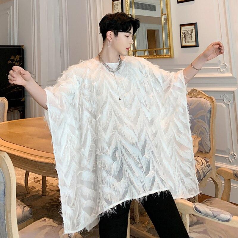 2019One siz!! été marée en trois dimensions plume version coréenne de la fée à manches courtes T-shirt manches chauve-souris chemise.