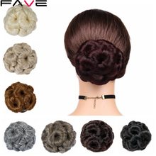 FAVE Women Curly Chignon Hair Clip In Hairpiece Extensions Bun Bug/Ash Blonde/Black/Flaxen Color Synthetic Chignon For Women(China)