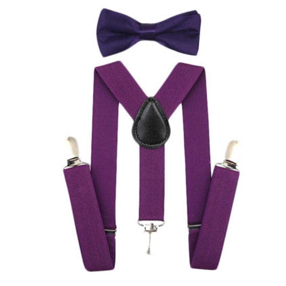 Регулируемая мода мальчиков хлопчатобумажный галстук вечерние галстуки подарок высокое качество для маленьких мальчиков малышей бабочка галстук-бабочка+ на подтяжках комплект одноцветное Цвет - Цвет: Deep purple