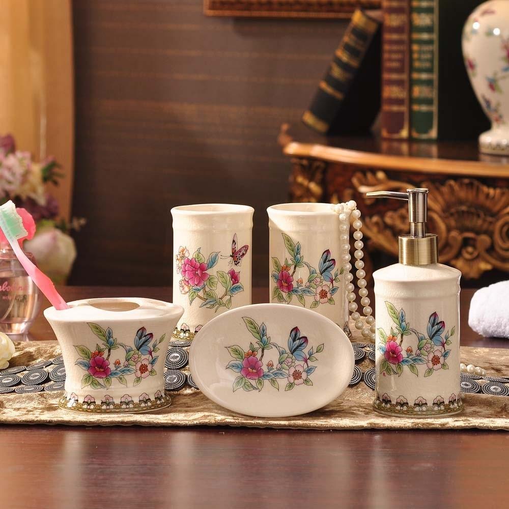 Bathroom:  European ceramic bathroom five sets of ceramic bathroom products wash kit toothbrush cup set wedding gift - Martin's & Co