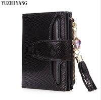 high quality women wallet leather genuine fashion sneaker leather women purse brown small wallet women with zipper buckle wallet