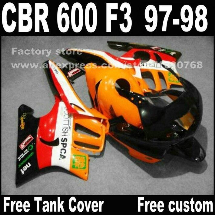Мотоцикл части для Honda ЦБ РФ 600 F3 обтекатели 1997 1998 CBR600 F3 в 97 98 красный черный желтый РЕПСОЛ пользовательский комплект обтекателя