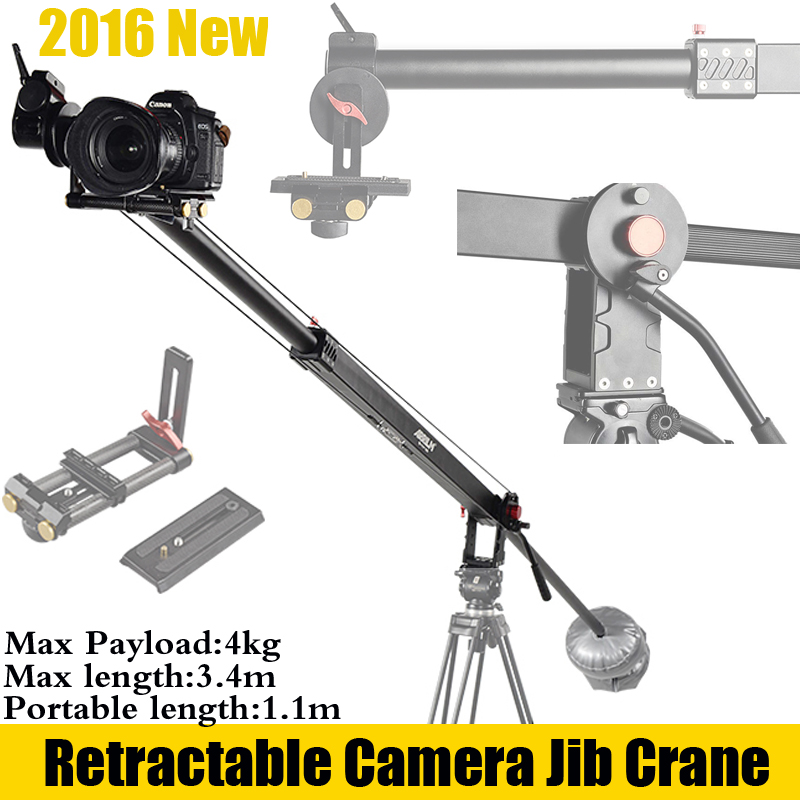 ARRILM 4kg Payload 3.4m Retractable Professinal Portable Video Rig DSLR Camera Mini Crane Jib Arm with Two CounterWeights professional dv camera crane jib 3m 6m 19 ft square for video camera filming with 2 axis motorized head