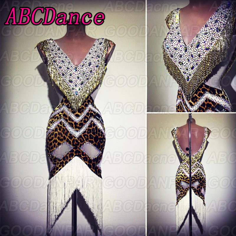 Latin Dance Dress Women V-Collar Fringed Dress For The Dance Leopard Print Dress For Ballroom Dancing