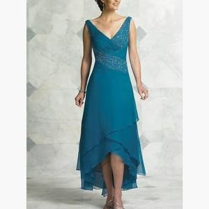 2019 الفيروز الشيفون V الرقبة مطوي الشاي طول أعلى أدنى أم فستان عروس Vestido دي Madrinha