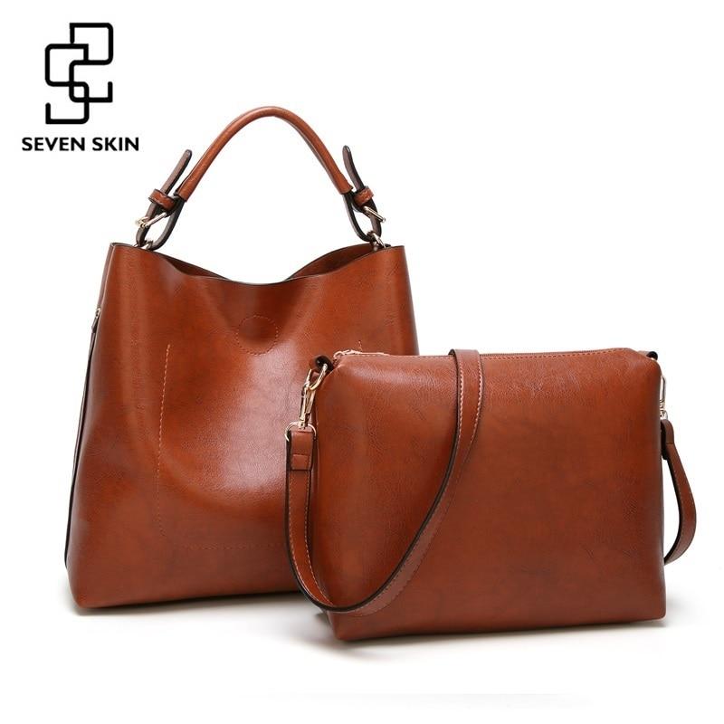 купить SEVEN SKIN 2018 New 2pcs Composite Bag Women Solid Leather Shoulder Bags Women's Casual Tote Bag Designer Female Bucket Handbags онлайн
