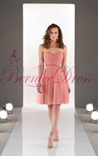 2014 Stylish Sweetheart A-Line Knee-Length Pale Pink Worsted Ruched Bridesmaid Dresses Vestido Pra Madrinha Cheap Party Gowns