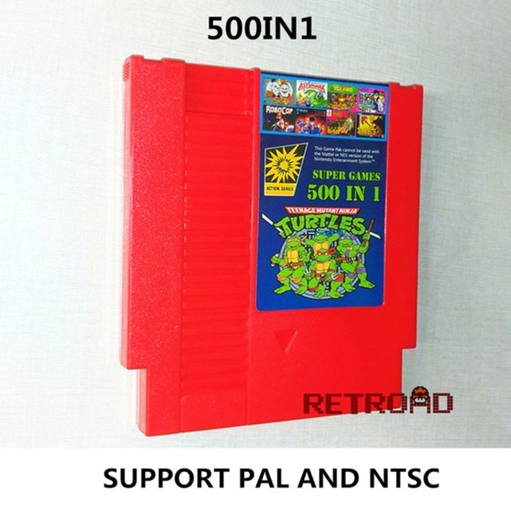 Red 500-In-1 Games Collection 8 Bit 72 Pins Video Game Card For Family Computer Games Card Game Cartridge For NES/FC Console