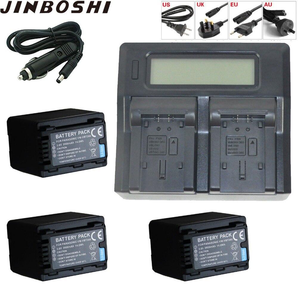 3X3900 mAh VW-VBT380 VW VBT380 vwvbt380 Batterie + LCD double Chargeur + Prise De Voiture pour Panasonic HC-V730 HC-V750 HC-V757 HC-V760 HC-V7703X3900 mAh VW-VBT380 VW VBT380 vwvbt380 Batterie + LCD double Chargeur + Prise De Voiture pour Panasonic HC-V730 HC-V750 HC-V757 HC-V760 HC-V770