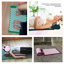 Massager (appro.67*42cm)Cushion Shakti Mat Acupressure Relieve Back Body Pain Spike Mat Acupuncture Massage Yoga Mat with Pillow