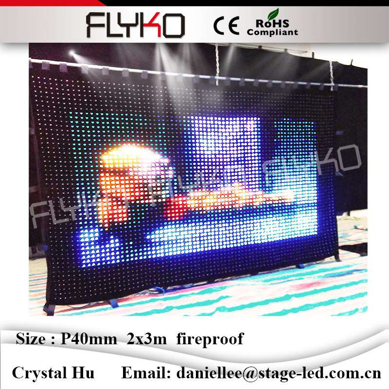 Led color changing curtain light led screen curtain for night club wedding hotel advertising decorate P40mm 2x3m