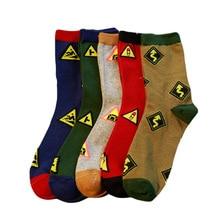 Men Socks Novelty Traffic Light Design Casual Cartoon Cotton Socks Funny Male Happy Socks  High Quality Hot