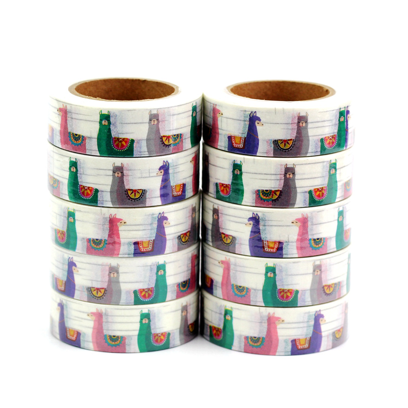 10PCS/lot Decor Llamas Alpaca Washi Tapes Paper For Scrapbooking Bullet Journal Adhesive Masking Tapes 15mmx10m School Supply