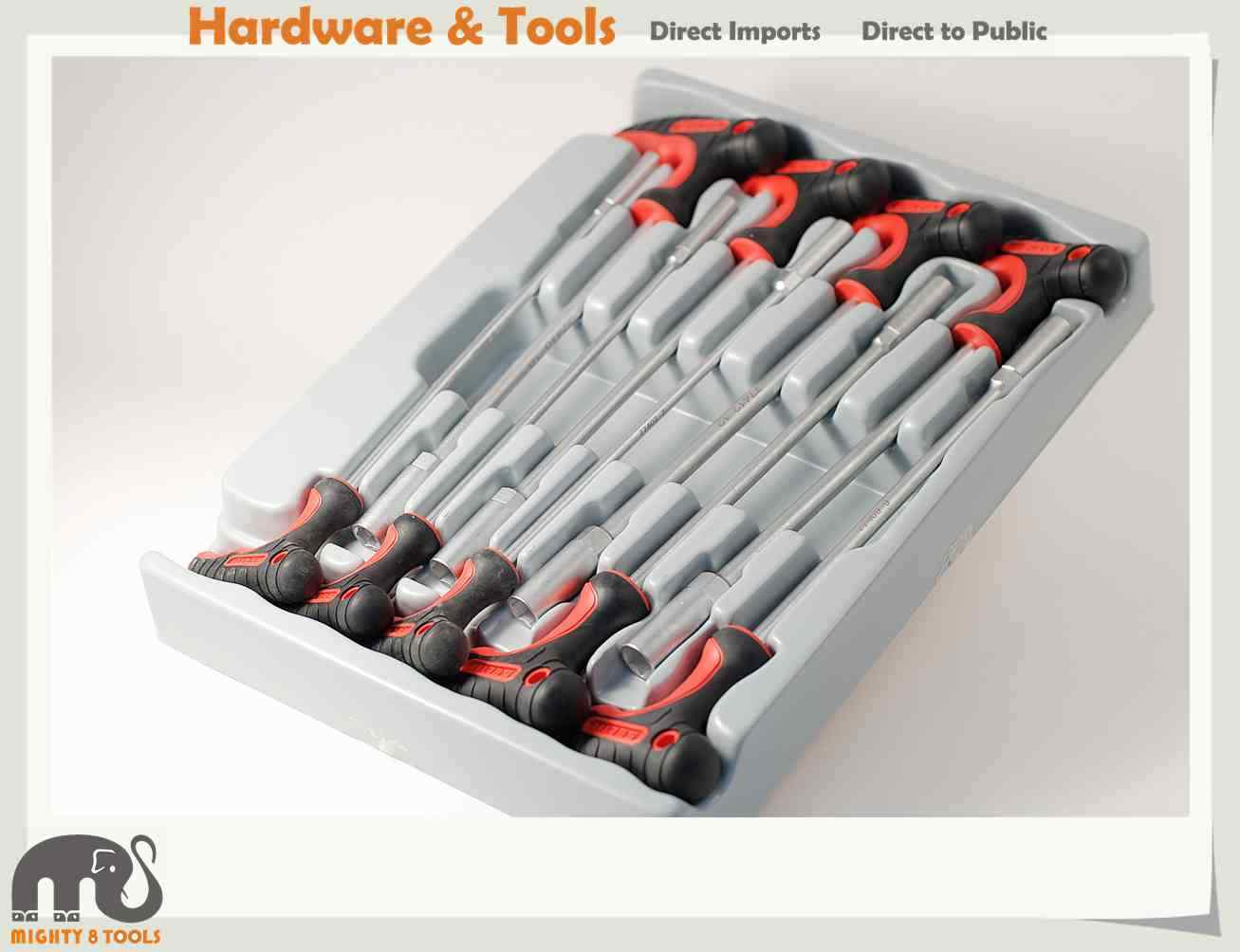 Taiwan Made Cr-V 9pc Hex Nut Driver T Handle Set w Tray:5-6-7-8-9-10-11-12-13mm h6m 12 v 35 35 w ba20d квадроцикл vettler