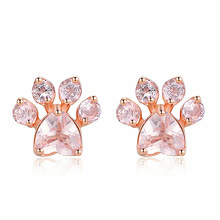 New Hot Trendy Cute Cat Paw Earrings For Women Fashiong Rose Gold Earring Pink Claw Print Bear and Dog Stud