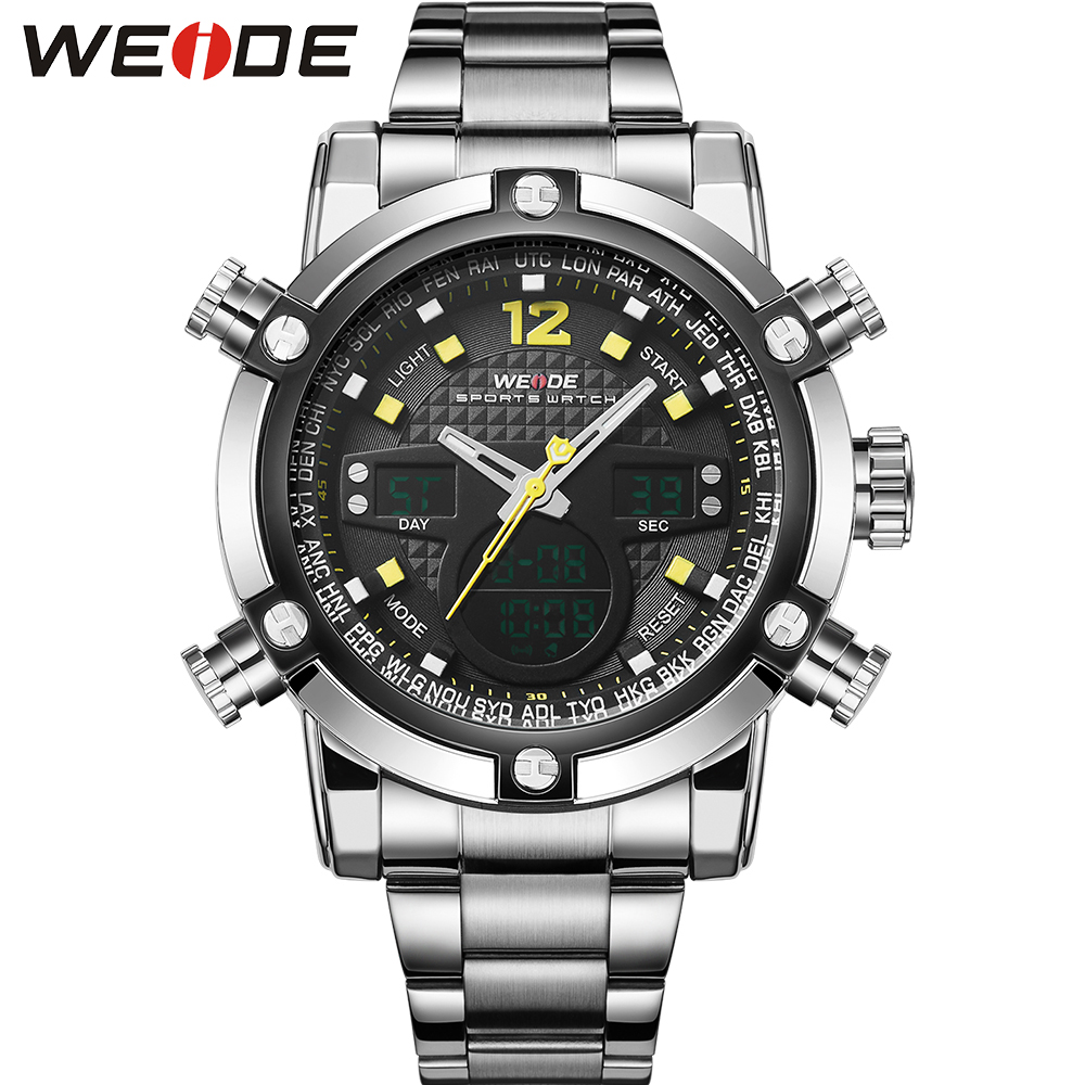 WEIDE Fashion Quartz-Watch Luxury Brand Stainless Steel Band High Quality Male Clock Waterproof relogio masculino Gift / WH5205 weide 5205 men led sports watch with stainless steel band