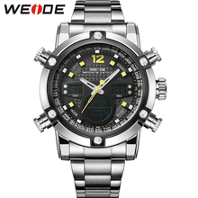 WEIDE Fashion Quartz-Watch Luxury Brand Stainless Steel Band High Quality Male Clock Waterproof relogio masculino Gift / WH5205