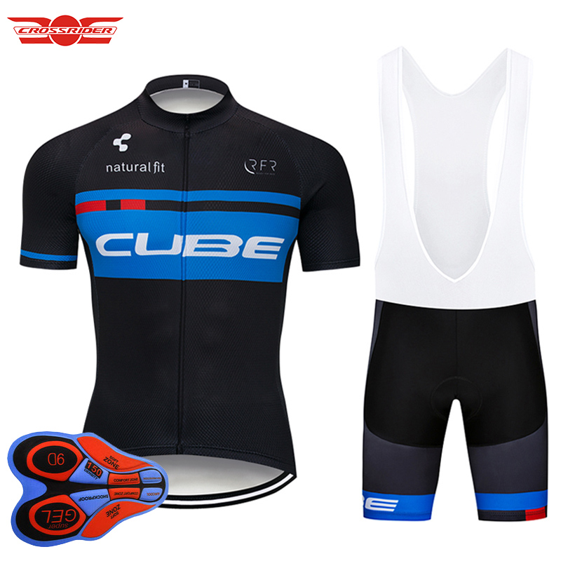 Crossrider 2018 Pro Team CUBE Cycling Jersey Short 9D set MTB Bike Clothing Ropa Ciclismo Bike Wear Clothes Mens Maillot Culotte