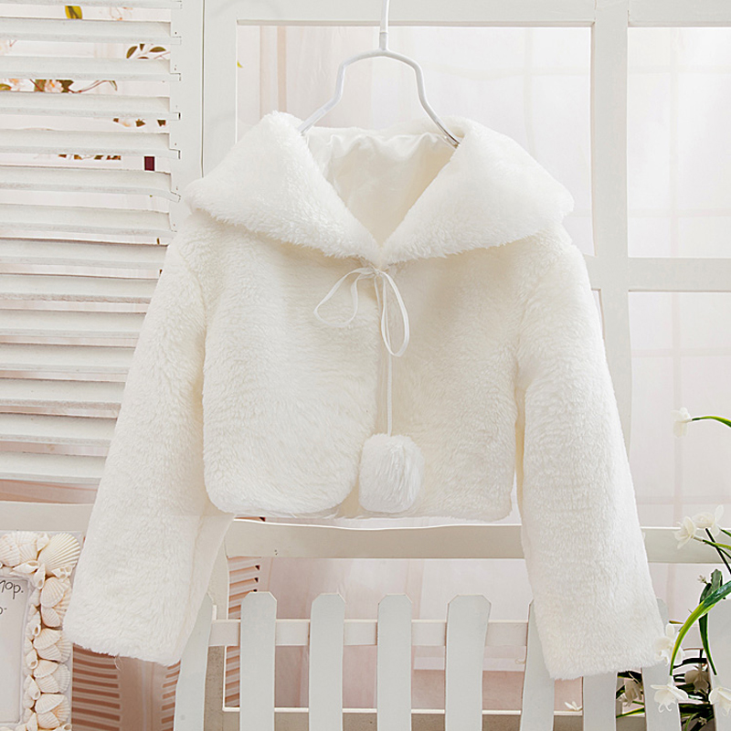 Cheap WhiteRedBlackIvory Outerwear Faux Fur Flower Girl Cape Jacket Coat Wedding Cloak For