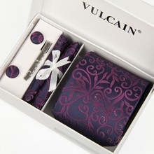 men 2014 neckties handkerchief and cufflinks +tie clip & with box gift 5 sets silk gravatas chinesa purple jacquard woven lotes