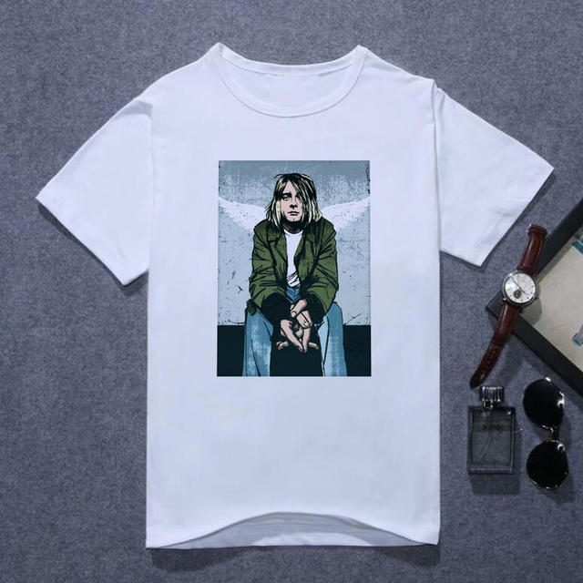 Nirvana Kurt Cobain Tshirt Men Harajuku Song Lyrics Framed Print Rock Sounds T Shirt Men's Summer Lothes Oversized T Shirt