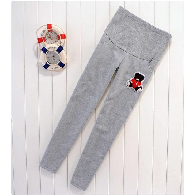 2016 new fashion large size women's pants. Spring maternity sports pants. Cartoon bear patterns pregnant women care belly pants