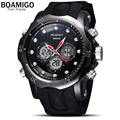 BOAMIGO Brand Genuine men's quartz watch 3D surface Case sports watches Climbing Wristwatches montre homme relogios masculinos