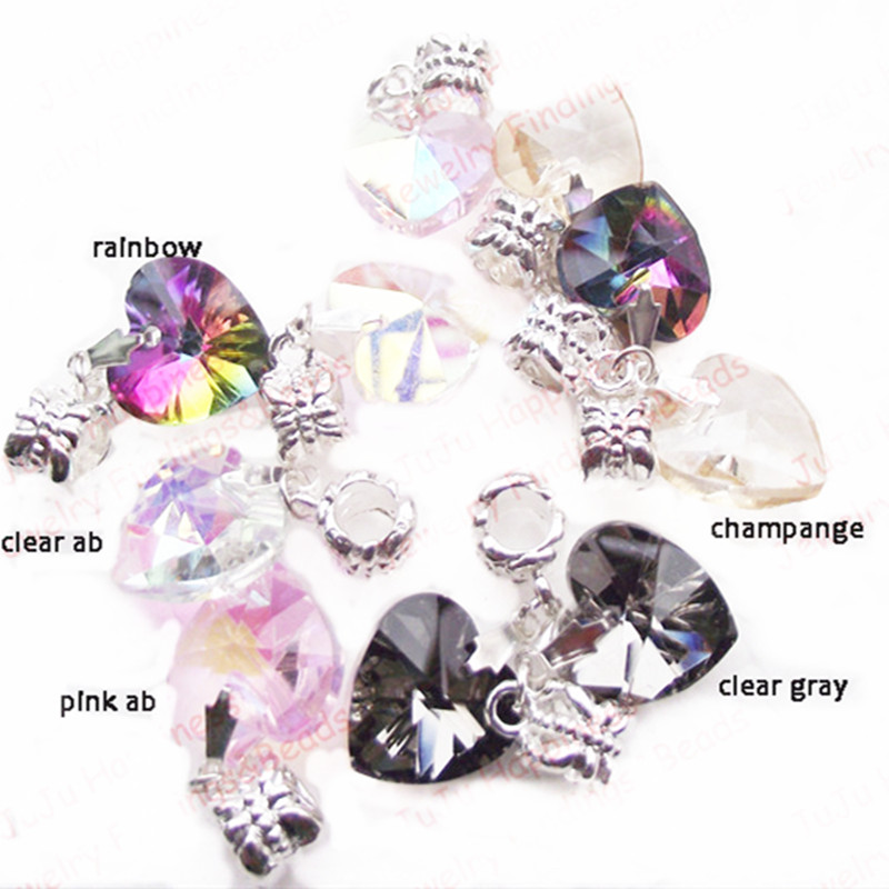 Fashion DIY Loose Dangle Crystal Glass Heart Charm Beads 14mm Fit Bracelet 50 pieces in Beads from Jewelry Accessories