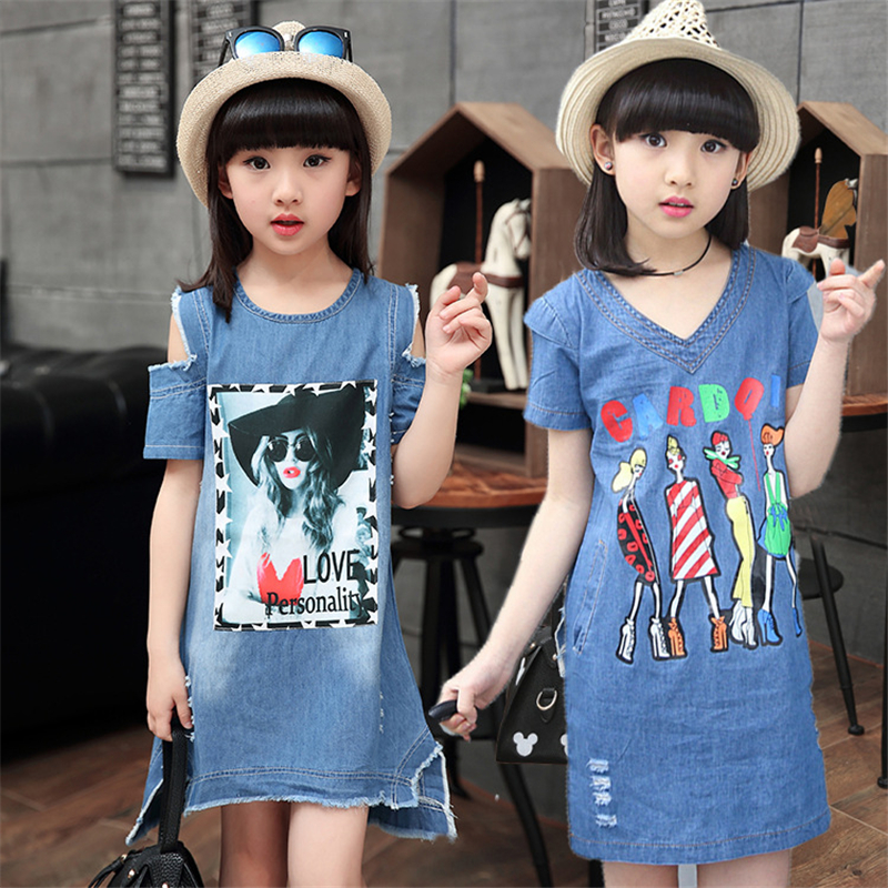 2017 Summer Denim Dresses For Girls Cotton Casual Children fashion Dress Girls Strapless Kids Clothes Girls Denim Girls Dresses