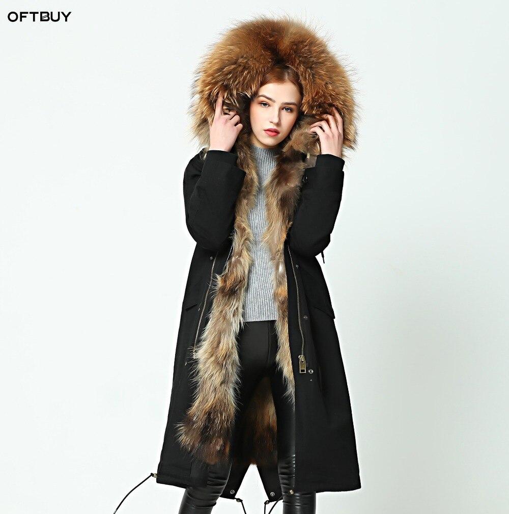 OFTBUY 2019 parka Dessus du genou veste d'hiver femmes parkas raton laveur naturel réel manteau à col en fourrure à capuchon réel chaud doublure en fourrure de renard