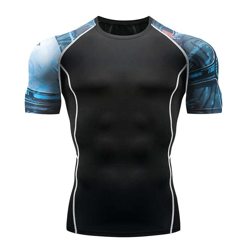 גברים של חולצה ספורט הדוקים דחיסת קצר שרוולים כושר גברים של חולצה 2018 חדש 3D הדפסת קרוספיט כושר
