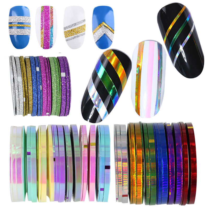YiZhiXiu 3 Rolls Nail Line Decal Striping Tapes 1mm 2mm 3mm Each One Adhesive Laser Shell Pearl Manicure Nail Decoration Sticker 14 rolls glitter scrub nail art striping tape line sticker tips diy mixed colors self adhesive decal tools manicure 1mm 2mm 3mm